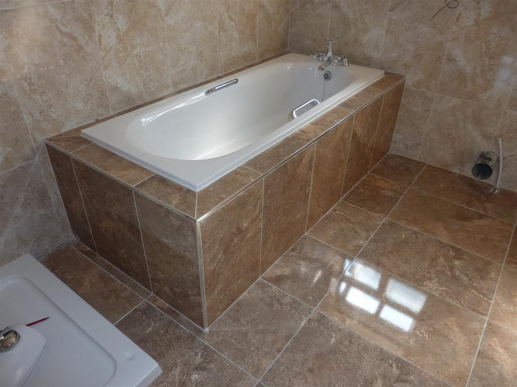 Boxing in tiling around a bath for Bathroom bath